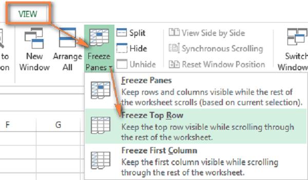 Chọn tiêu đề cần cố định và chọn tab view