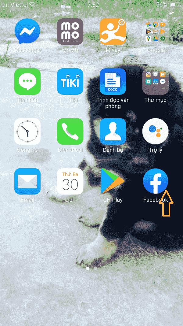 Mở ứng dụng facebook trên màn hình điện thoại