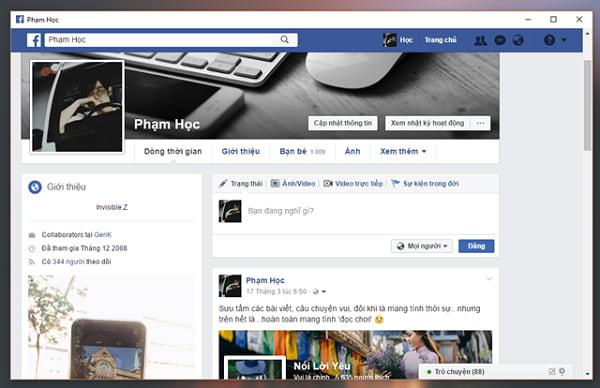 Truy cập vào trang cá nhân facebook