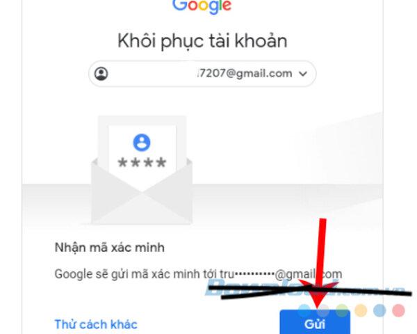 google sẽ gửi mã xác minh tới email mặc định của bạn