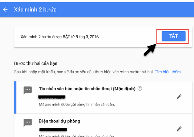 Bước 2: Tiến hành tắt xác minh 2 bước cho tài khoản Google Samsung