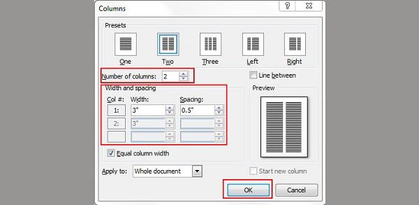 Chọn mục Number of columns điền số cột muốn chia