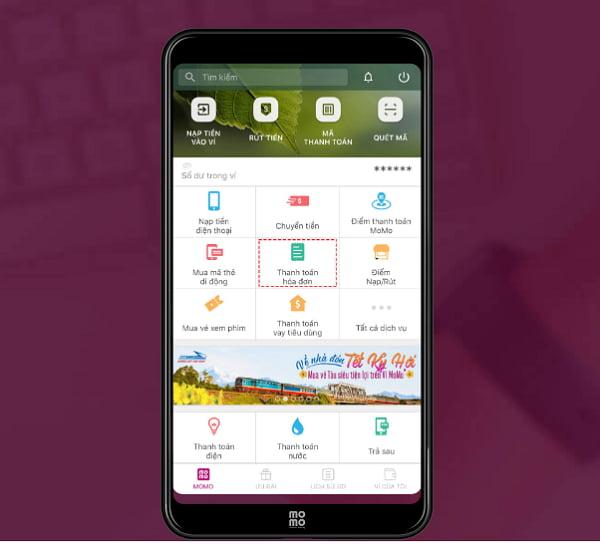 Click chọn thanh toán hóa đơn sau khi đăng nhập ví Momo