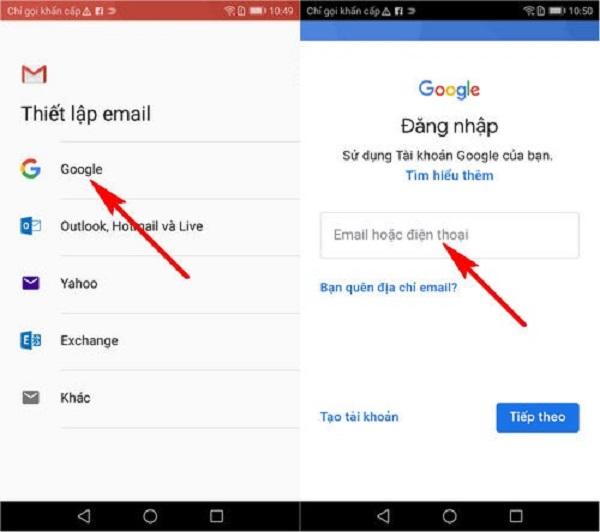 Đăng nhập Gmail trên điện thoại