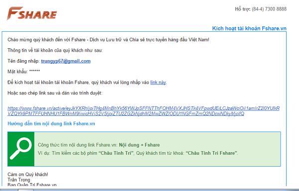 Đăng nhập và xác nhận tài khoản Fshare