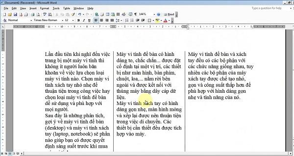 Chia cột giúp cho việc đọc văn bản trở nên dễ dàng hơn