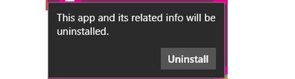 Chọn Uninstall để gỡ bỏ ứng dụng