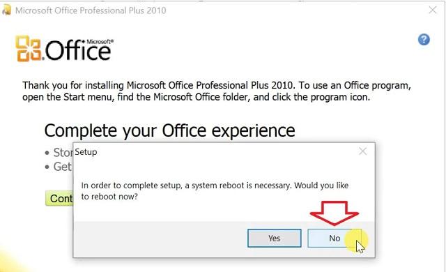 """hệ thống sẽ hỏi """"Would you like to reboot new?"""" bạn hãy nhấn chọn vào mục NO"""