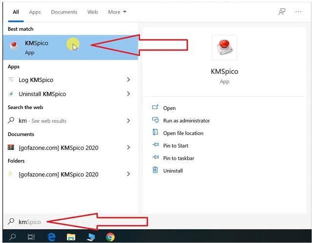 mở KMspico từ menu Start >> nhấn chọn vào biểu tượng nút đỏ