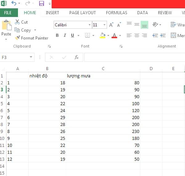 Nhập số liệu vào excel