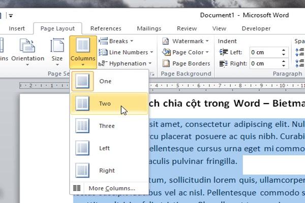 Vào mục tab page layout, chọn columns và chọn số cột muốn chia tương ứng