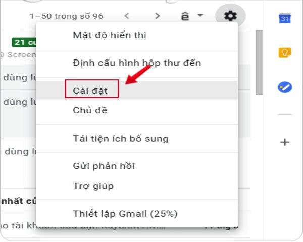 Nhấn vào biểu tượng bánh răng cưa sau đó chọn cài đặt (settings)