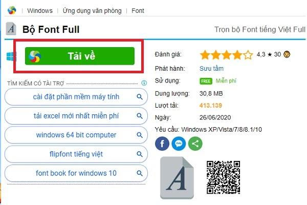 Nhấn vào nút Tải về để download font tiếng Việt