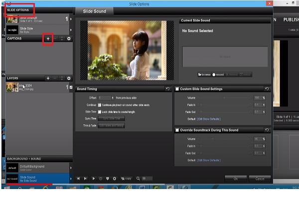 Nhấp vào video để xuất hiện cửa sổ Slide Options và nhấn vào dấu cộng